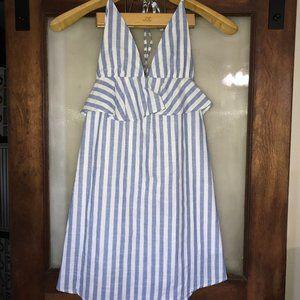 Romwe Juniors Halter Neck Striped Mini Dress